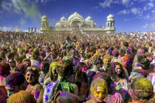 The projected over 80,000 attendants at the 2013 Festival of Colors! In the back is Sri Radha Krishna Temple at Spanish Fork, Utah, United States