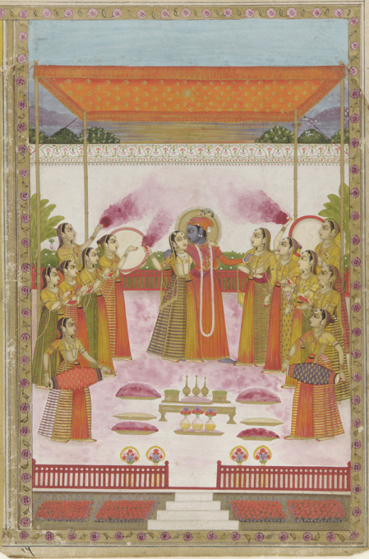 Radha, Krishna and sakhis playing Holi. Lucknow, Avadh (Oudh), 19th century. Opaque watercolor and gold on paper, H: 28.9 W: 19.2 cm, 19th century. Smithsonian Freer and Sackler Gallery