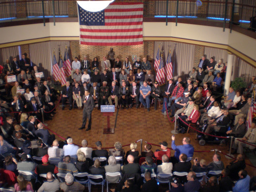 Barack Obama at the Rossin Campus Center at Washington & Jefferson College for a campaign event April 15, 2008. W&J College President Tori Haring-Smith is visible to the left of Obama in the first row behind the velvet rope. W&J graduate, Iraq War ve