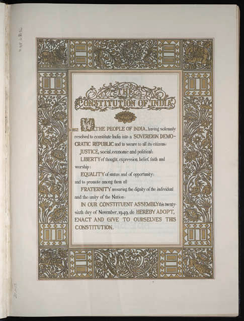 Library of congress image of Indian constitution