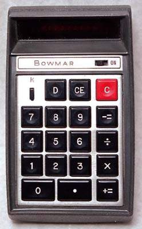The first calculator available in the USA to the public was the Bowman Brain at the cost of $200 in 1971 in my Midwest city. That's $1135.14 in 2013 dollars. Bowmar was bankrupt in 1975.