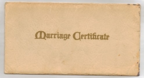 Vintage marriage certificate envelope