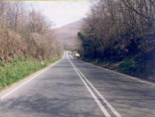 If you look at the photo above which shows a gravity hill or magnetic hill, you will notice that the nearer stretch of road is perceived as running downhill.