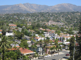 Looking toward the Santa Ynez mountains, view from the Santa Barbara courthouse tower.