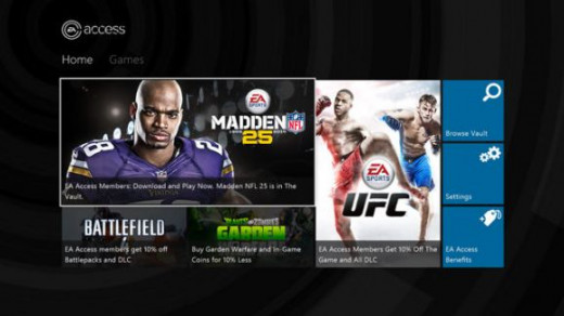 The home screen of the EA Access Hub