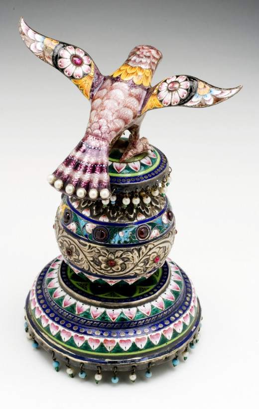 Antique enameled silver Falcon on a Pedestal from Varanasi, Uttar Pradesh, Indiai, late 19th century Sculpture
