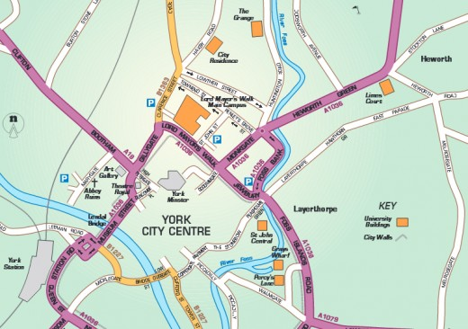 Map of York St John University Accommodations
