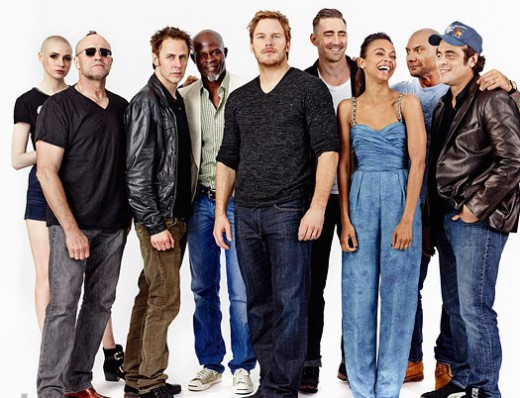 The all-star cast includes Chris Pratt, Zoe Saldana, Dave Bautista, Lee Pace, Michael Rooker, Karen Gillan, Djimon Hounsou, John C. Reilly, and Glenn Close.