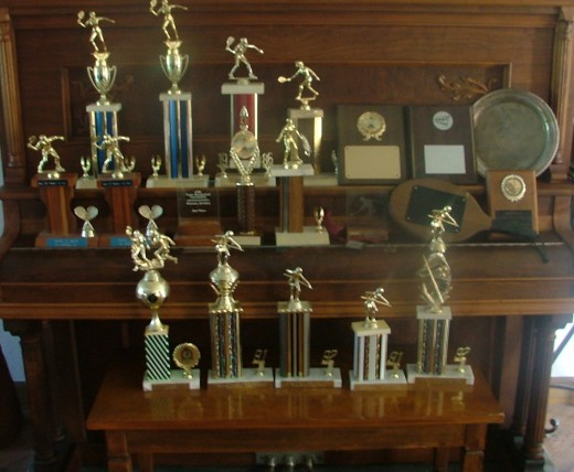 My various racquetball trophies