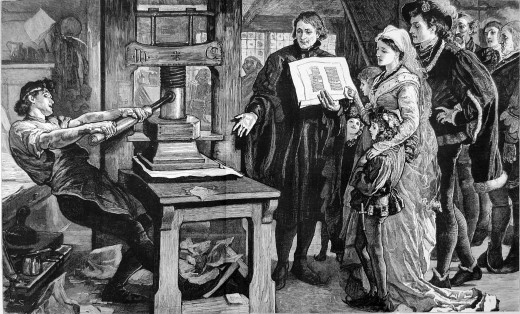 William Caxton showing specimens of his printing to King Edward IV and his Queen. Published in The Grabhic in 1877 refering to The Caxton Celebration. The Caxton Celebration, commemorating the 400th anniversary of the first printed book in England, t