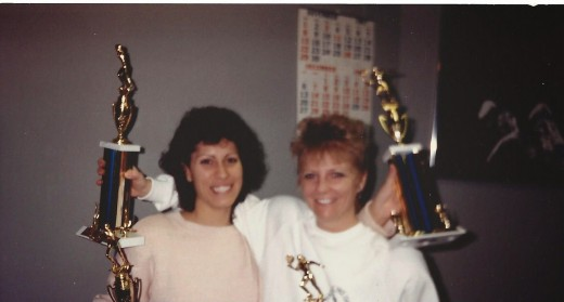 Liz and I after taking the New York State Pro Am, 1st in doubles, 1986
