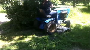 Tree branches will brush across the operator's body when mowing around trees.