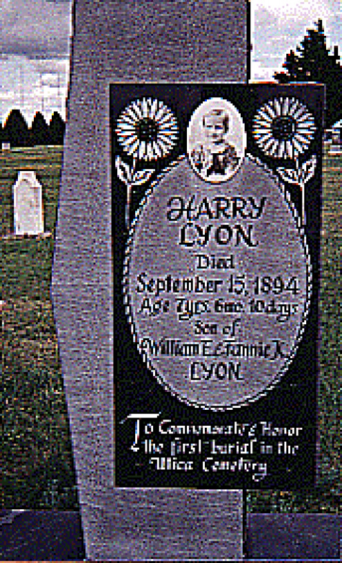 Gravestone of young Harry Lyon in Kansas