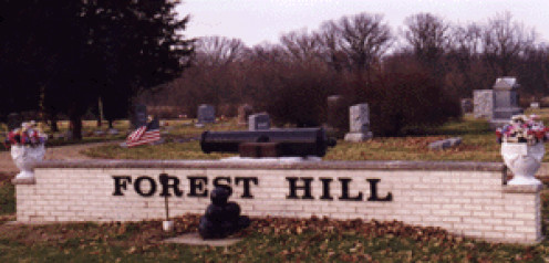 Cemetery front entrance sign
