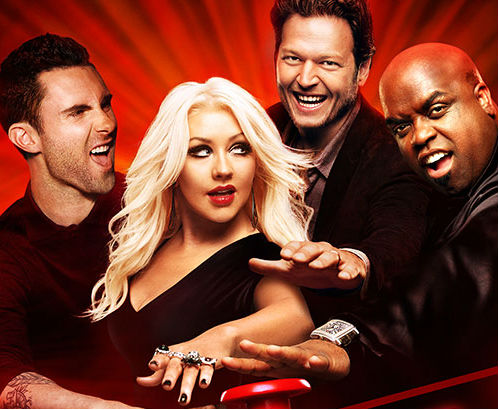Season 2 promo picture; Adam Levine, Christina Aguilera, Blake Shelton, and CeeLo Green.