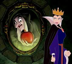 Disney's Hollywood Studios' artwork Reflection of Evil [1] showing the character in both of her two forms from the 1937 Snow White film