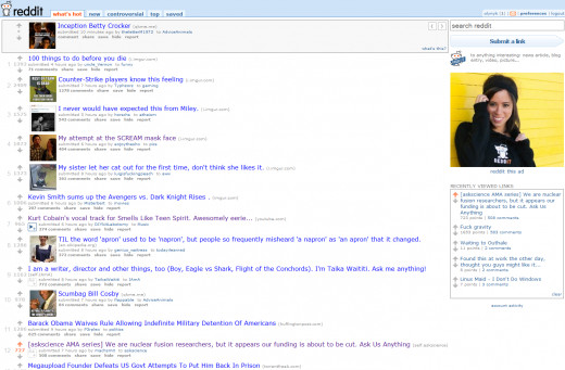 reddit's design, which has hardly - if at all - changed since the site's conception