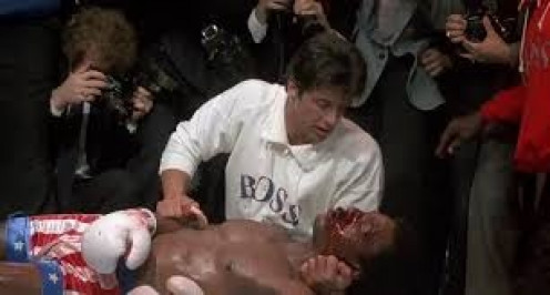 Apollo died in Rocky's arms after being beaten to death in the ring by Ivan Drago of Russia. This event set Rocky into fight mode.