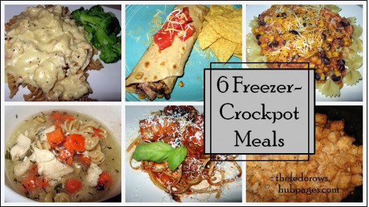 Prepare 6 meals in 1 hour,  freeze, thaw, and cook in a Crockpot:  Creamy Garlic Chicken, Cilantro Lime Chicken, Turkey Meatballs, Tater Tot Casserole, Creamy Salsa Chicken,  and Chicken Noodle Soup.