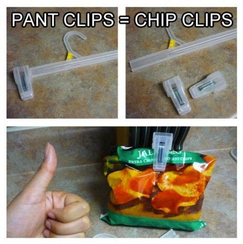 Use the end of pant hangers as extra chip clips, or for any other reason you need something clipped.