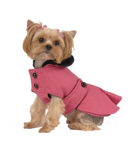 A Dog Wearing A Pleated Dog Coat in Hot Pink