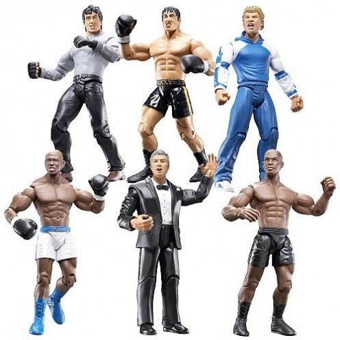 Toy action figures from the fifth and sixth installments of the Rocky film series. These figures were released on a limited edition basis and they are hard to find now.