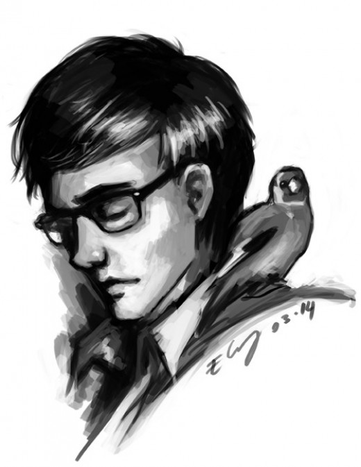 An amazing interpretation of Theo by Elenie Chung found at: http://erowira.tumblr.com/post/79031681906/carel-fabritius-the-goldfinch-1654-is-one-of-my