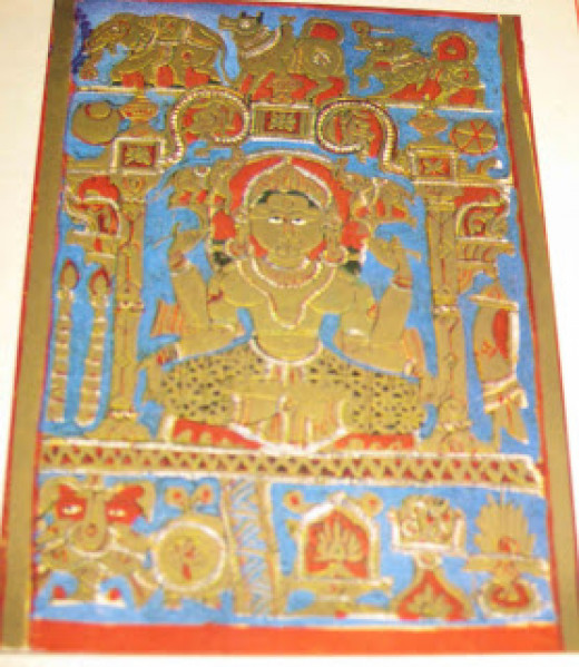 Jain Agam Kalpasutra miniature painting, 14 dreams of Devananda. Thirteenth dream was a heap of gemstones.