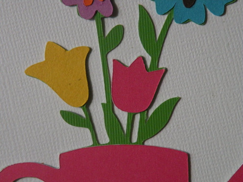 Adhere small pink cardstock tulip