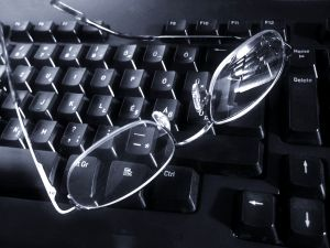 Glasses on the keyboard - thinking?