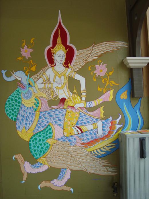 Thai Goddess. Mural.