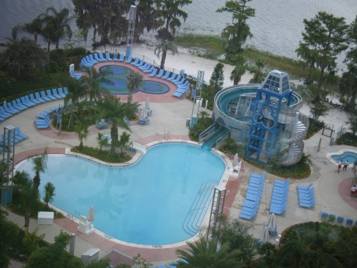 One of the many different pools on the Disney property