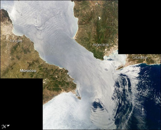 Satellite photograph of Gibraltar( barrier between Mediterranean sea and Atlantic Ocean)