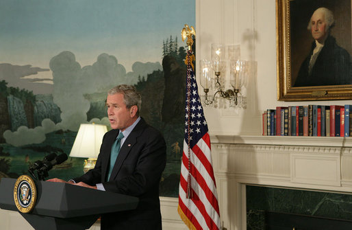 "President George W. Bush delivers a statement at the White House Tuesday, Sept. 30, 2008, regarding the economic rescue plan. Said the President, ""We're at a critical moment for our economy, and we need legislation that decisively address the troubl"