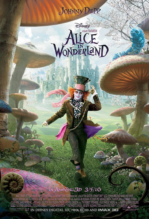 Film poster for Alice in Wonderland (2010).