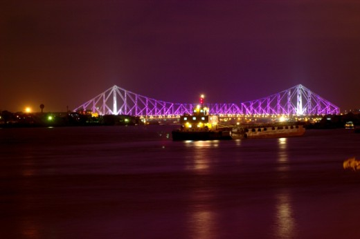 The Famous Howrah Bridge also known as Rabindra Setu. It Connects Kolkata with Howrah on the river Ganges.