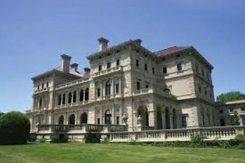 The Breakers estate in Newport, Rhode Island is huge and it sits upon a beautiful body of water.