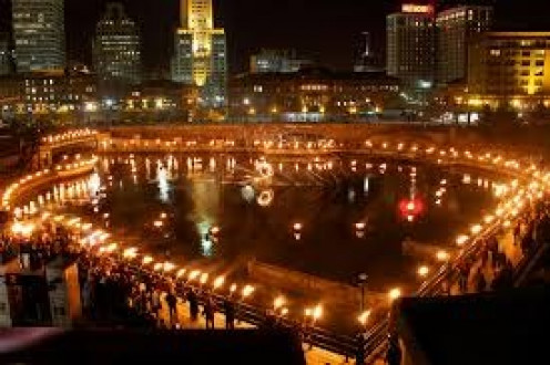 Water fire is an annual event in Providence, Rhode Island that attracts thousands of visitors.