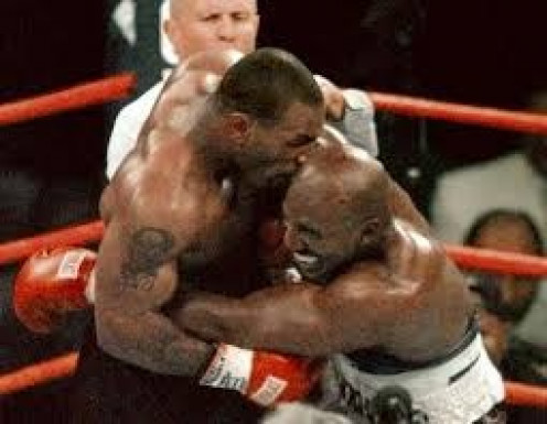 Mike Tyson bit Evander Holyfield twice and tried to break his arm during their rematch in 1997.