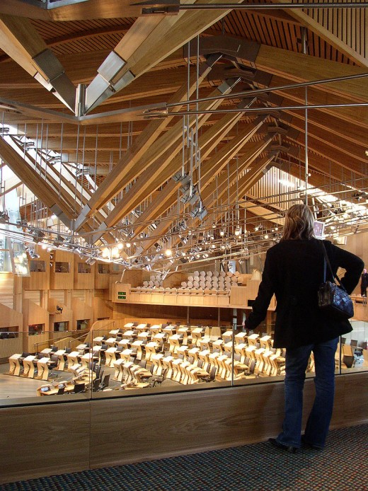 The Debating Chamber of the Scottish Parliament.