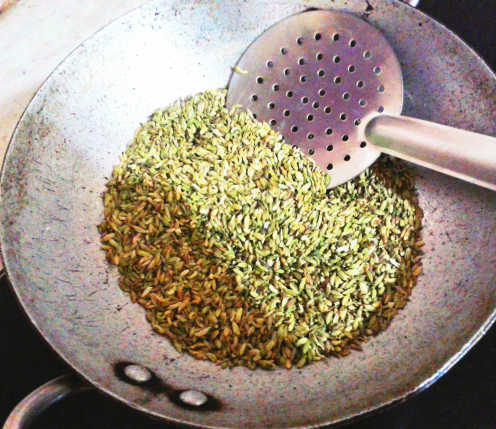 First in a heated pan, just roast the fennel seeds