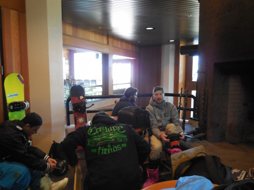 Inside Timberline Lodge, getting ready for the slopes