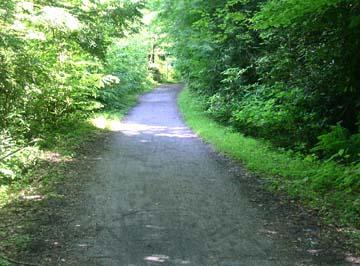 The path is wide, flat and easy to ride on
