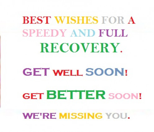 Best Wishes for a Speedy and Full Recovery from an Illness. Get Well Soon!