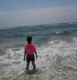 Playing in the surf of the Atlantic Ocean