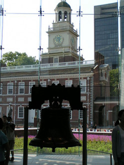 A view of the Liberty Bell with Independence Hall in the background.