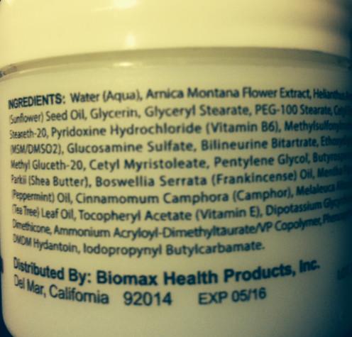 Penetrex ingredients on bottle