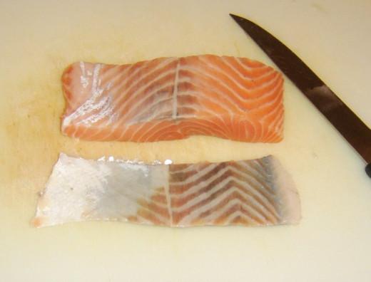 Skinned salmon fillet