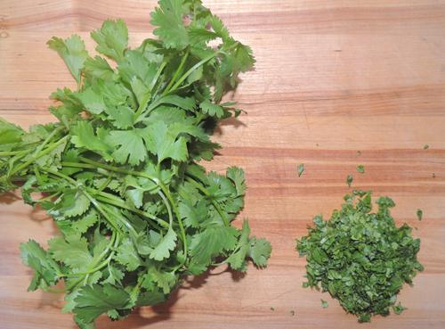 cilantro diced--left to right