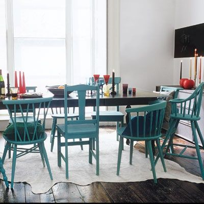 Painting a mismatched set in the same color pulls it together without hiding the obvious!